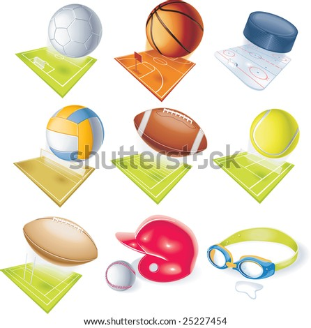 Detailed sport icons - stock photo