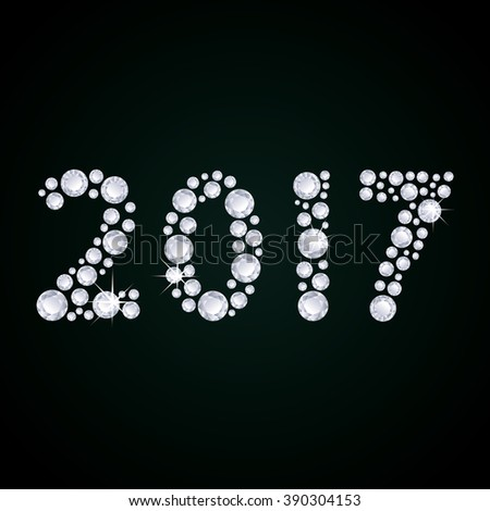 2017 Diamonds numbers with reflection. Happy New Year. Greeting card. - stock photo