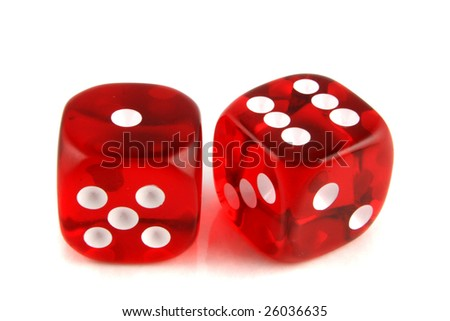 2 Dice close up -  showing the numbers 1 and 6 - stock photo