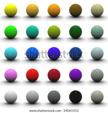 25 Different Color Spheres. - stock photo