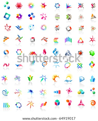 72 different colorful  icons: (set 1). Raster version. Vector version is in my gallery. - stock photo
