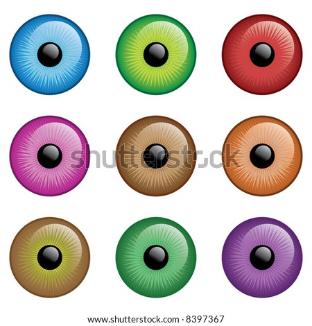 9 different eye colour - stock photo