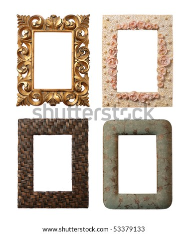 4 different frames isolated on white - stock photo