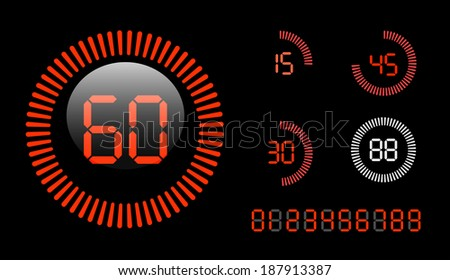 Digital Countdown Timer isolated on black background - stock photo