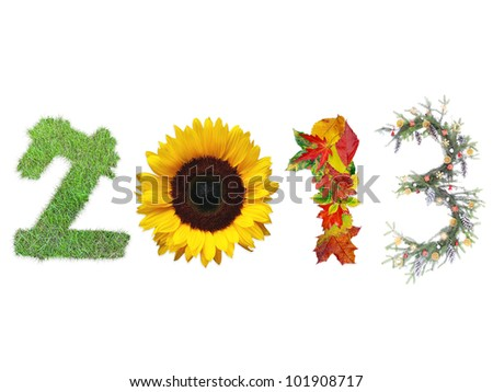2013 digits made of fresh grass, sunflower, dead fall leaves and christmas wreath representing four season of the year - stock photo