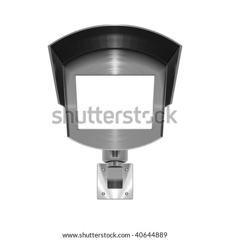 3 dimensional illustration of metallic, brushed steel effect CCTV camera on white background - stock photo