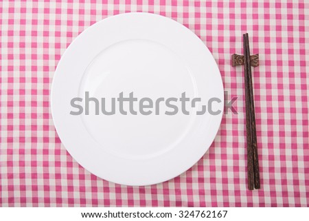 dinner and lunch set with chop stick, can be use for various foods related concept design and background. - stock photo