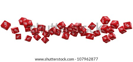 50% discount icon cubes on a white background - stock photo