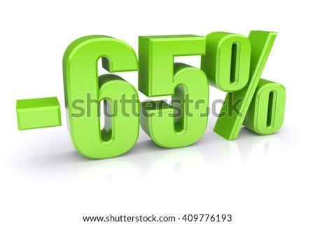 65% discount icon on a white background - stock photo