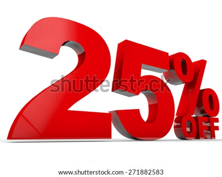 25% Discount over white background - stock photo