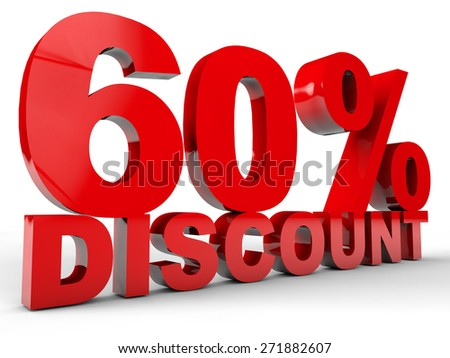 60% Discount over white background - stock photo