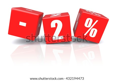 2% discount red cubes on a white background. 3d rendered image - stock photo