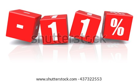11% discount red cubes on a white background. 3d rendered image - stock photo