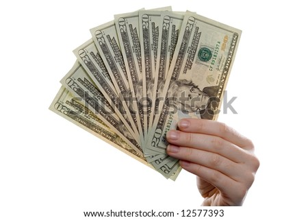 20 Dollar-Banknotes as a fan in a hand. Isolated on white. - stock photo