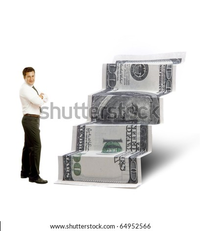 100 dollar bill staircase with businessman - stock photo