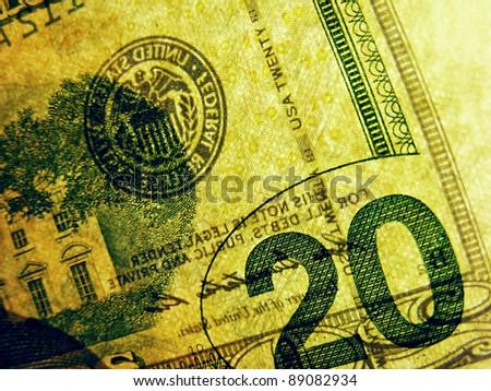 20 dollar bill. Transparent style. - stock photo