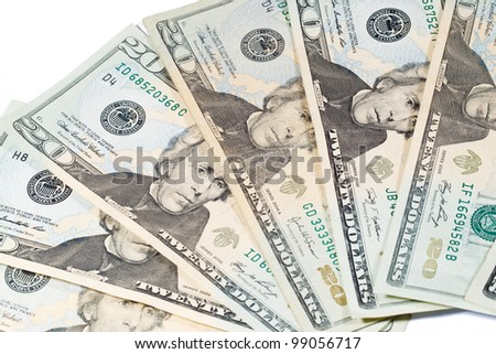 20 Dollar Bills; Cash Currency - stock photo