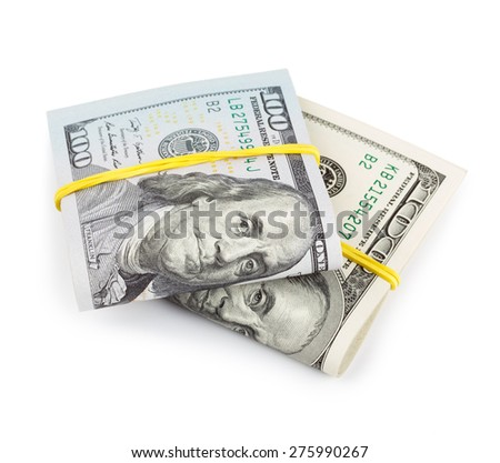 100 Dollar bills folded and tied with rubber band isolated - stock photo