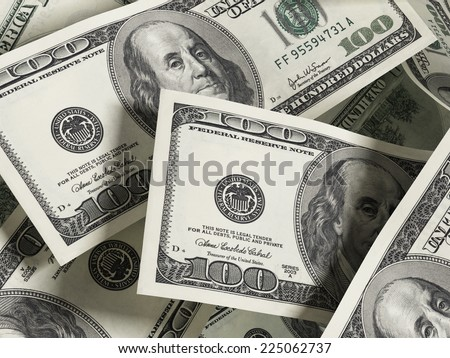100 dollar bills forming a background background - stock photo