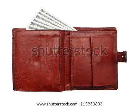 100 dollar bills from purse. Isolated on white. Finance Concept - stock photo