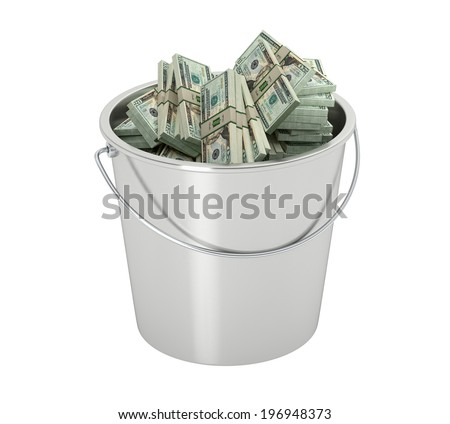20 Dollar bills in a bucket - isolated on white - stock photo