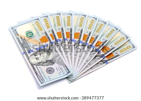 100 dollar bills isolated with white background - stock photo