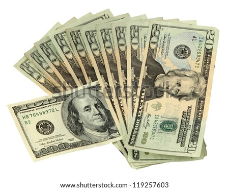 20 Dollar Bills with one 100 Dollar Bill - stock photo