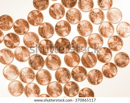 Dollar coins 1 cent wheat penny cent currency of the United States useful as a background vintage - stock photo