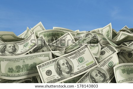100 Dollar notes at the ground, outside - stock photo