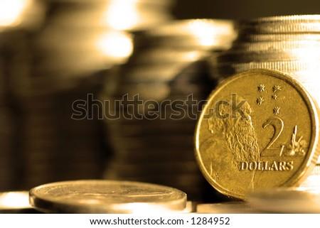 2 Dollars Australian Coins - stock photo