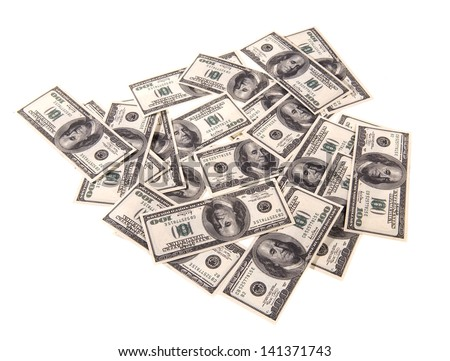 100 dollars banknotes isolated on a white background - stock photo