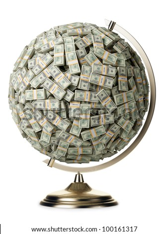 100 dollars globe on white isolated background - stock photo