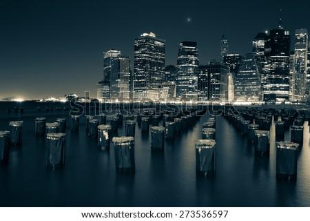 Downtown Manhattan, New York. Night scene. Light trails. City lights. Urban living and transportation concept - stock photo