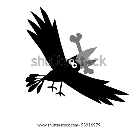 drawing ravens - stock photo