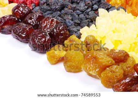 dried fruits on white - stock photo