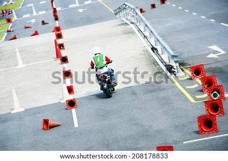 Driving a motorcycle ride with a driver. - stock photo