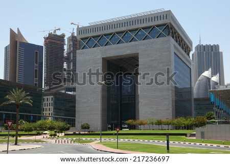 DUBAI, UAE - MAY 27: The Dubai International Financial Centre (DIFC).  May 27, 2011 in Dubai, United Arab Emirates   - stock photo