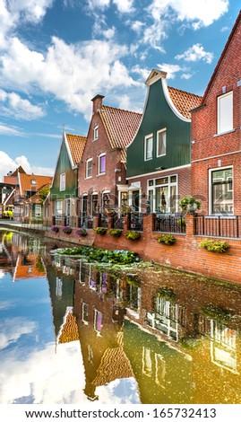 Dutch family houses - stock photo