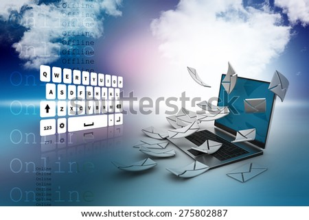 E-mail concept. Modern Laptop and envelope - stock photo