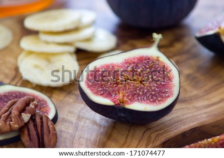 ?ealthy breakfast with fruits and nuts   - stock photo