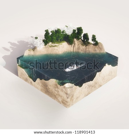 Earth cross section with water,  mountains, tree - stock photo