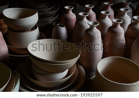 earthenware, ceramic dishware - stock photo
