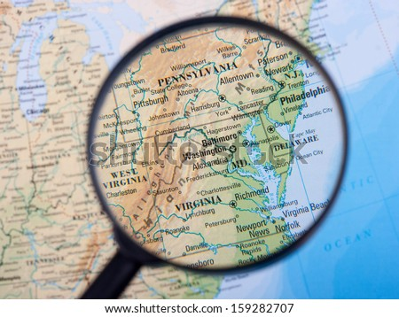East Coast under loupe - stock photo