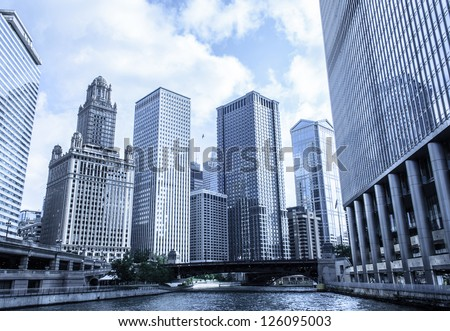 35 East Wacker Drive skyline in Chicago as seen from city river - stock photo