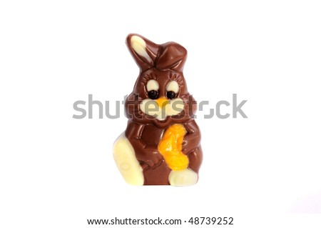 Easter chocolate bunny - stock photo