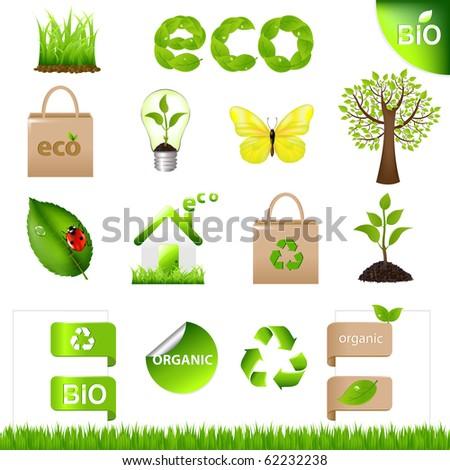 18 Eco Design Elements And Icons, Isolated On White Background - stock photo