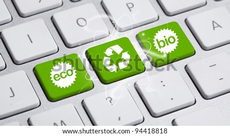 ECO keyboard, Green recycling concept - stock photo