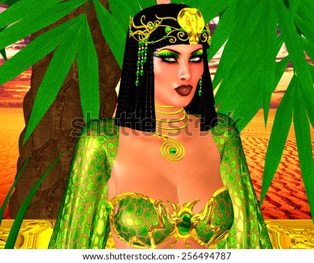 Egyptian woman in emerald green and gold with uraeus. Beautiful cosmetics adorn her face. A braided hairstyle completes the Egyptian feel to this digital art fantasy scene. - stock photo