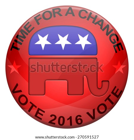 2016 Elections button shape with Republican party icon and text - stock photo