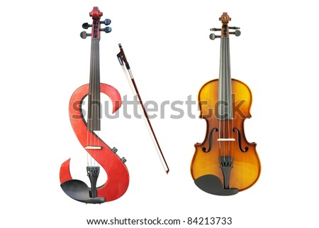 electric violin, violin and a fiddlestick under the white background - stock photo